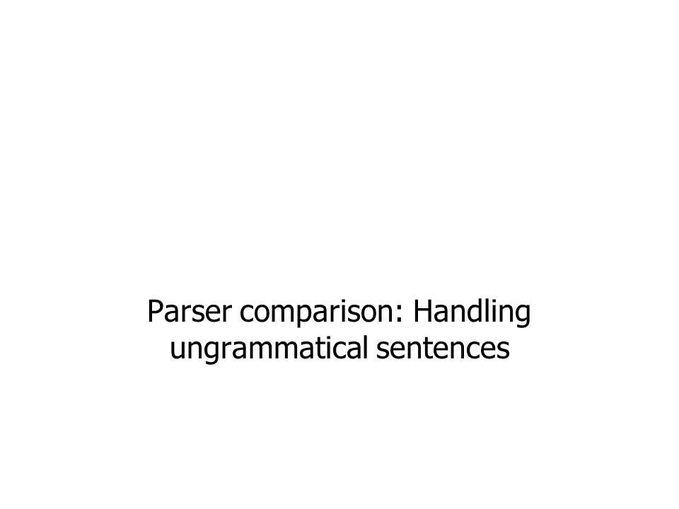 Parser comparison: Handling ungrammatical sentences