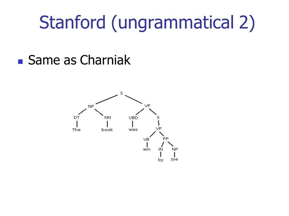 Stanford (ungrammatical 2) Same as Charniak