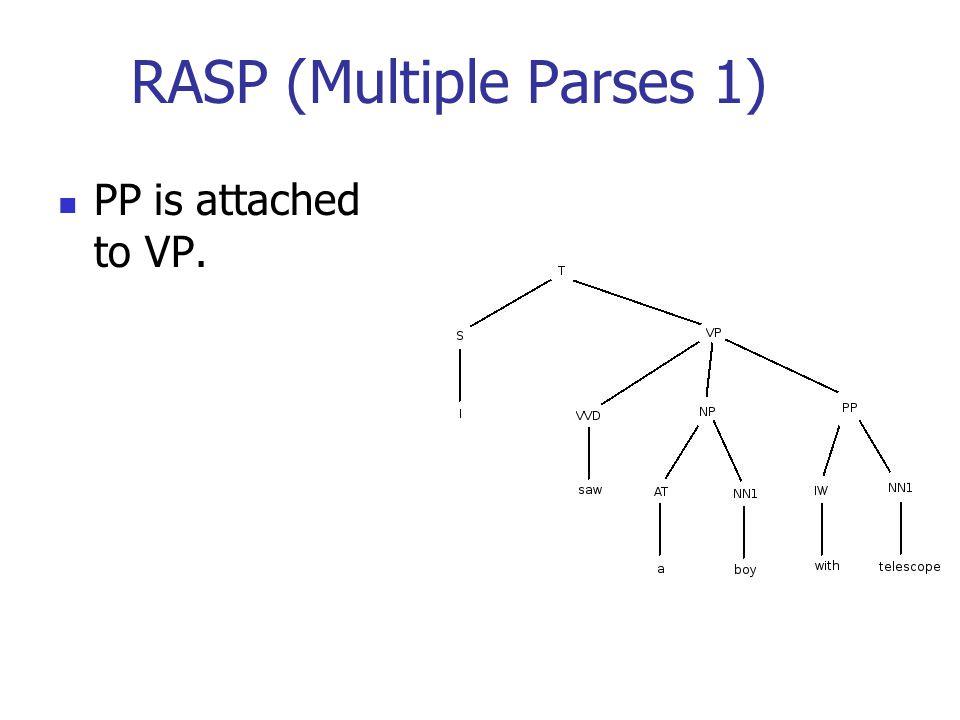 RASP (Multiple Parses 1) PP is attached to VP.