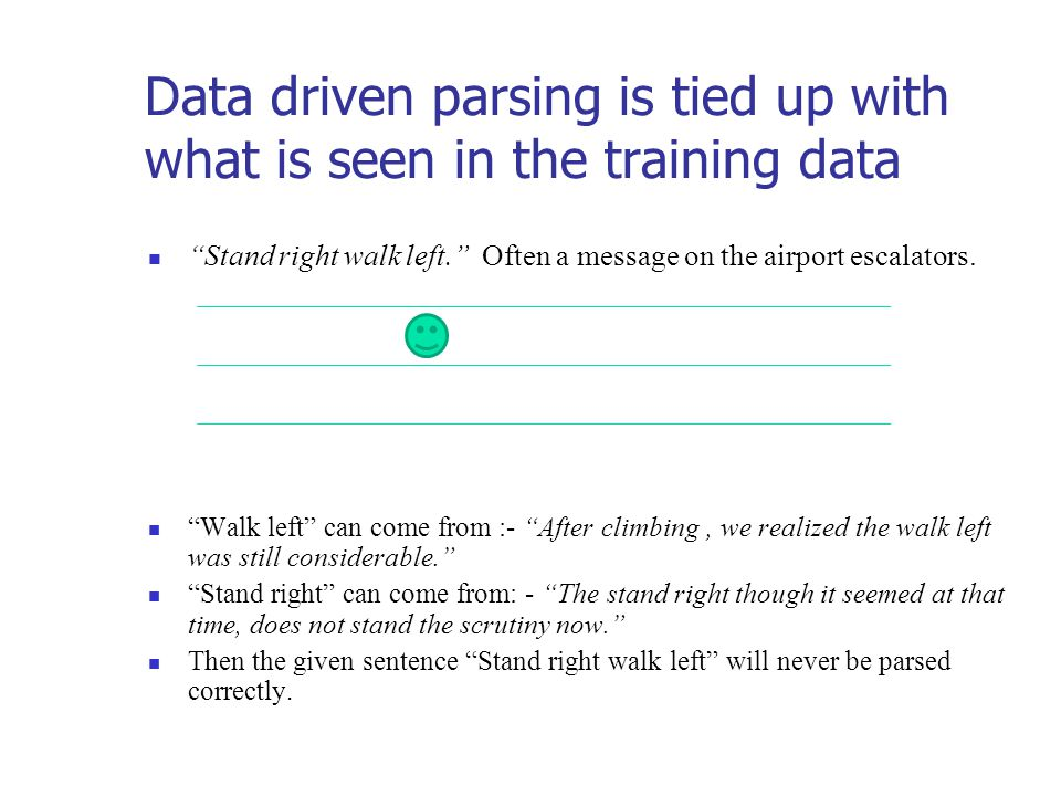 Data driven parsing is tied up with what is seen in the training data Stand right walk left. Often a message on the airport escalators.