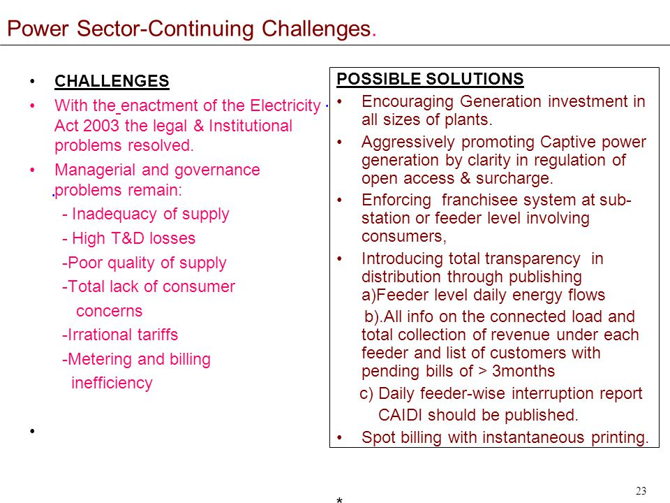 23 Power Sector-Continuing Challenges...