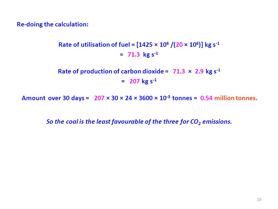 Re-doing the calculation: Rate of utilisation of fuel = [1425 × 10 6 /(20 × 10 6 )] kg s -1 = 71.3 kg s -1 Rate of production of carbon dioxide = 71.3 × 2.9 kg s -1 = 207 kg s -1 Amount over 30 days = 207 × 30 × 24 × 3600 × 10 -3 tonnes = 0.54 million tonnes.