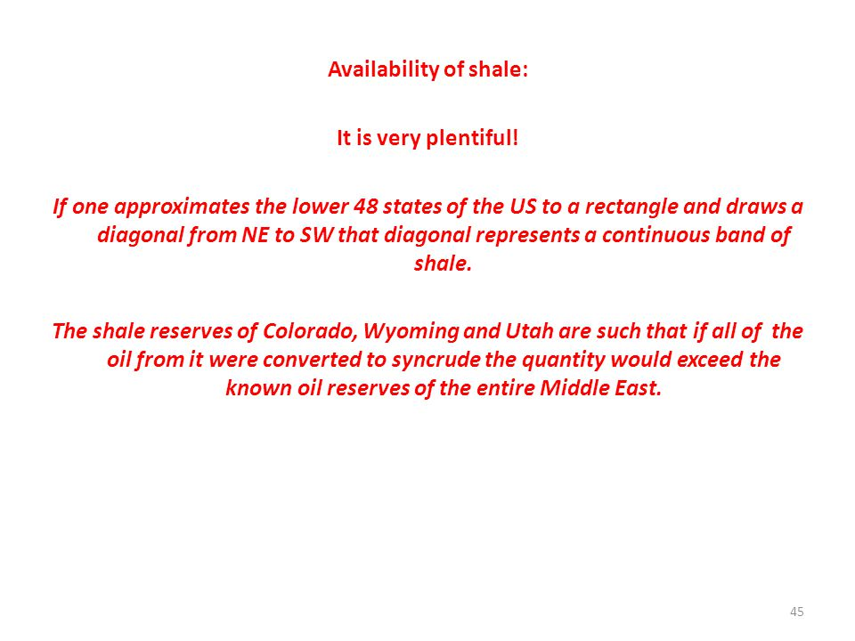 Availability of shale: It is very plentiful.