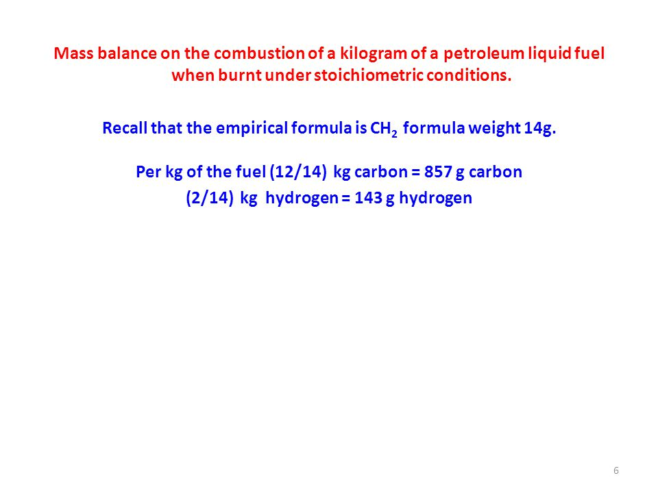 Mass balance on the combustion of a kilogram of a petroleum liquid fuel when burnt under stoichiometric conditions.
