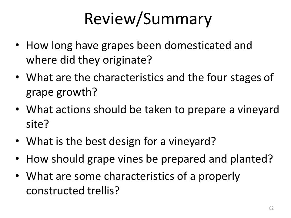 Review/Summary How long have grapes been domesticated and where did they originate? What are the characteristics and the four stages of grape growth?