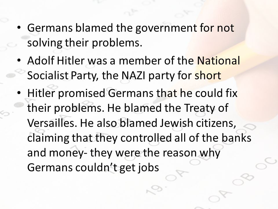 Germans blamed the government for not solving their problems.