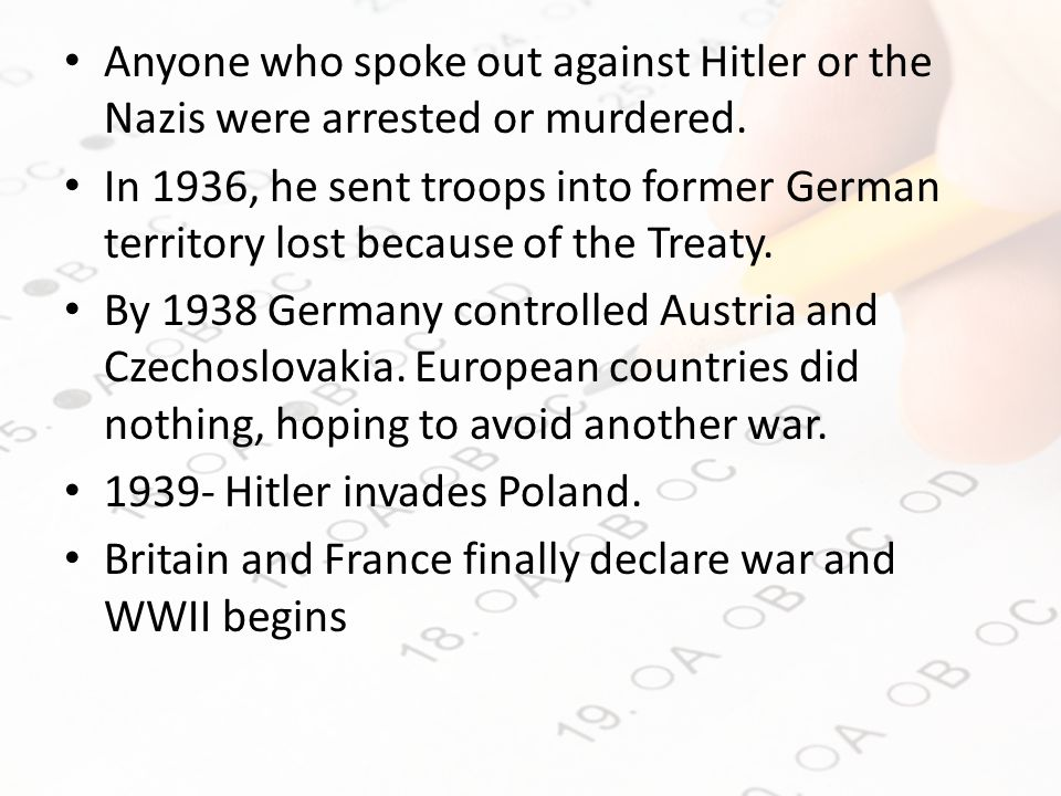 Anyone who spoke out against Hitler or the Nazis were arrested or murdered.