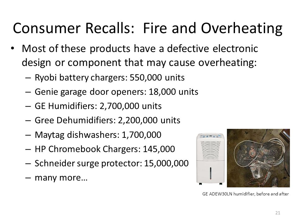 Consumer Recalls: Fire and Overheating Most of these products have a defective electronic design or component that may cause overheating: – Ryobi battery chargers: 550,000 units – Genie garage door openers: 18,000 units – GE Humidifiers: 2,700,000 units – Gree Dehumidifiers: 2,200,000 units – Maytag dishwashers: 1,700,000 – HP Chromebook Chargers: 145,000 – Schneider surge protector: 15,000,000 – many more… GE ADEW30LN humidifier, before and after 21