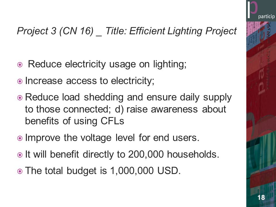 Project 3 (CN 16) _ Title: Efficient Lighting Project  Reduce electricity usage on lighting;  Increase access to electricity;  Reduce load shedding and ensure daily supply to those connected; d) raise awareness about benefits of using CFLs  Improve the voltage level for end users.