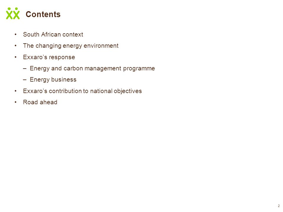 Contents South African context The changing energy environment Exxaro's response –Energy and carbon management programme –Energy business Exxaro's contribution to national objectives Road ahead 2