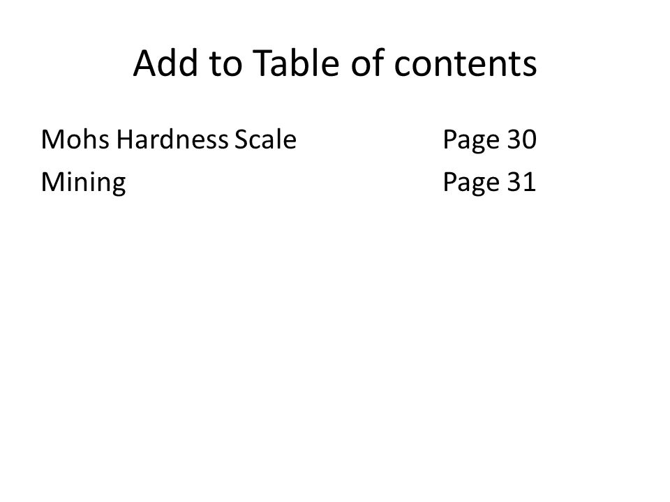 Attach Mohs Hardness scale to Page 30