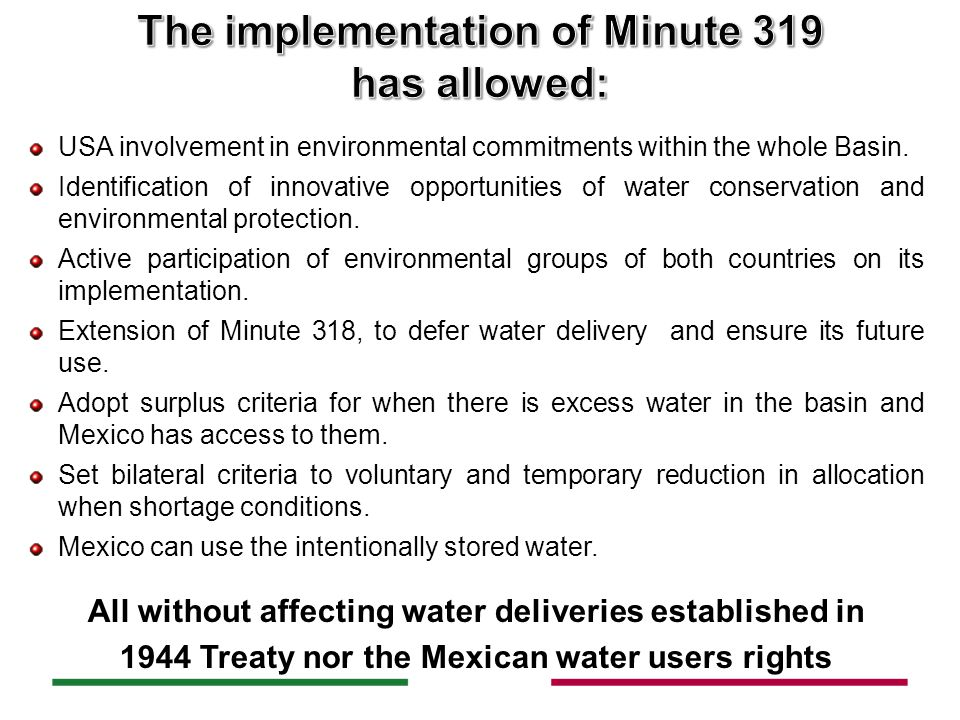 USA involvement in environmental commitments within the whole Basin.