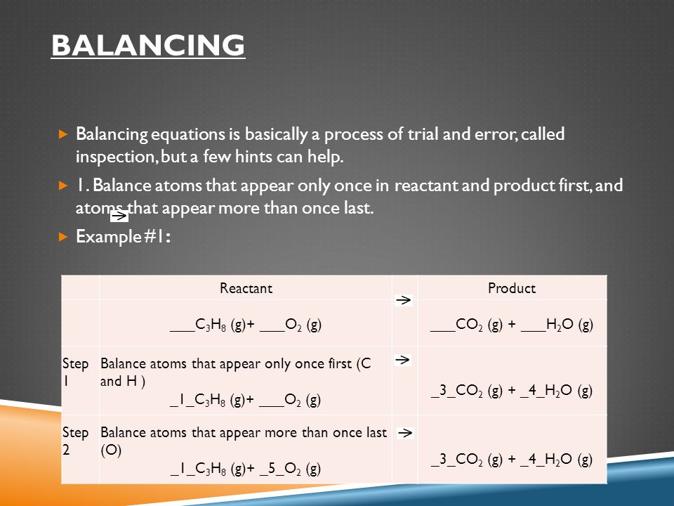 BALANCING  Balancing equations is basically a process of trial and error, called inspection, but a few hints can help.  1. Balance atoms that appear