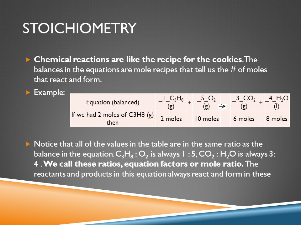 STOICHIOMETRY  Chemical reactions are like the recipe for the cookies. The balances in the equations are mole recipes that tell us the # of moles tha