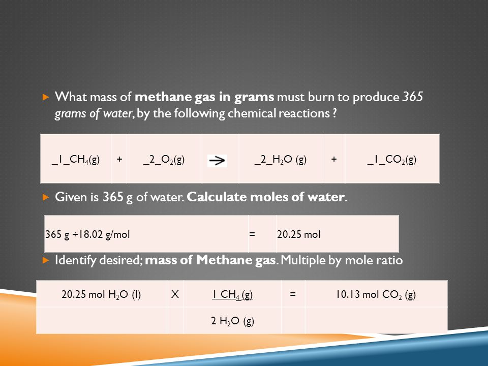  What mass of methane gas in grams must burn to produce 365 grams of water, by the following chemical reactions ?  Given is 365 g of water. Calculat