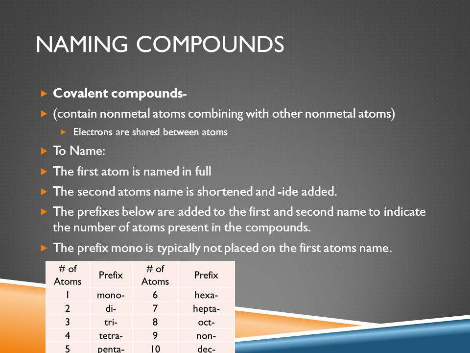 NAMING COMPOUNDS  Covalent compounds-  (contain nonmetal atoms combining with other nonmetal atoms)  Electrons are shared between atoms  To Name: