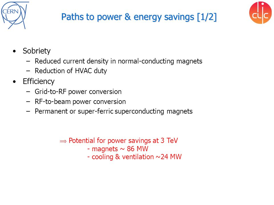 Paths to power & energy savings [1/2] Sobriety –Reduced current density in normal-conducting magnets –Reduction of HVAC duty Efficiency –Grid-to-RF power conversion –RF-to-beam power conversion –Permanent or super-ferric superconducting magnets  Potential for power savings at 3 TeV - magnets ~ 86 MW - cooling & ventilation ~24 MW