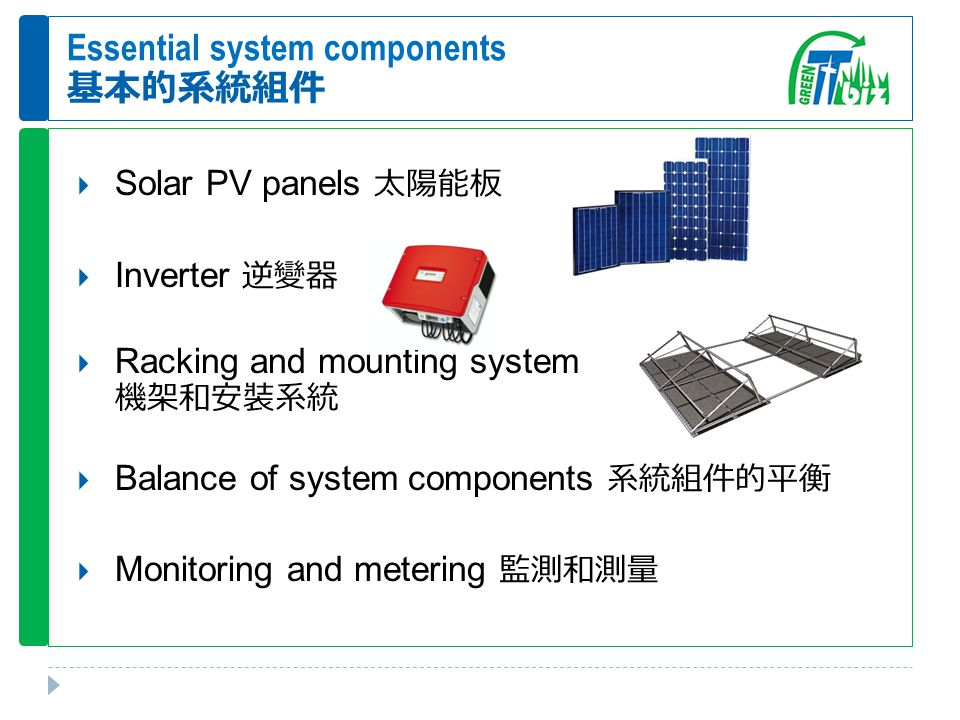 Essential system components 基本的系統組件  Solar PV panels 太陽能板  Inverter 逆變器  Racking and mounting system 機架和安裝系統  Balance of system components 系統組件的平衡