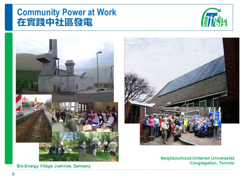 Community Power at Work 在實踐中社區發電 Neighbourhood Unitarian Universalist Congregation, Toronto Bio-Energy Village Juehnde, Germany