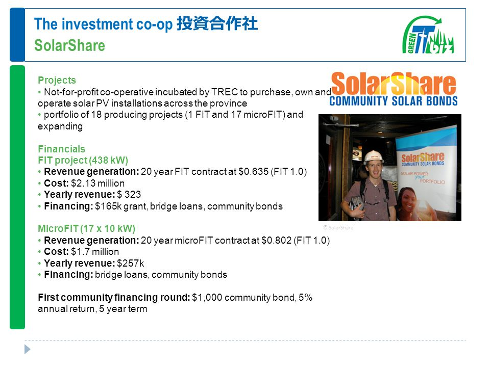 The investment co-op 投資合作社 SolarShare Projects Not-for-profit co-operative incubated by TREC to purchase, own and operate solar PV installations across the province portfolio of 18 producing projects (1 FIT and 17 microFIT) and expanding Financials FIT project (438 kW) Revenue generation: 20 year FIT contract at $0.635 (FIT 1.0) Cost: $2.13 million Yearly revenue: $ 323 Financing: $165k grant, bridge loans, community bonds MicroFIT (17 x 10 kW) Revenue generation: 20 year microFIT contract at $0.802 (FIT 1.0) Cost: $1.7 million Yearly revenue: $257k Financing: bridge loans, community bonds First community financing round: $1,000 community bond, 5% annual return, 5 year term © SolarShare