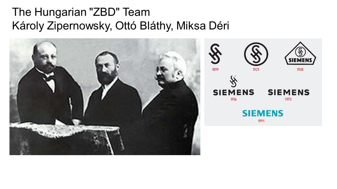 The Hungarian ZBD Team Károly Zipernowsky, Ottó Bláthy, Miksa Déri
