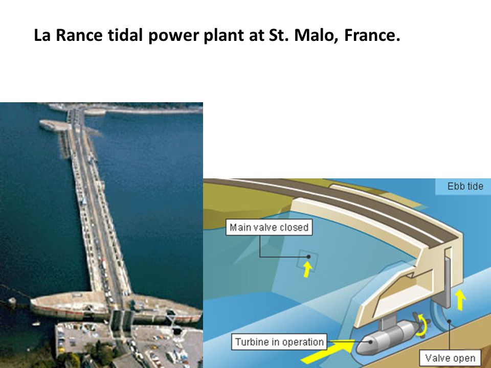 La Rance tidal power plant at St. Malo, France.