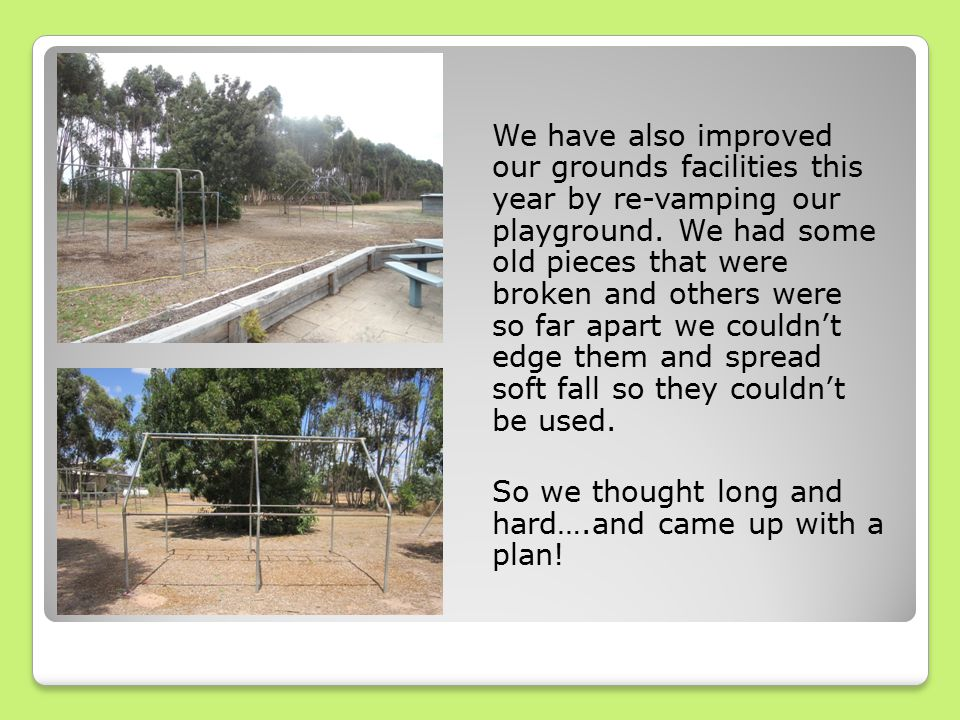 We have also improved our grounds facilities this year by re-vamping our playground.
