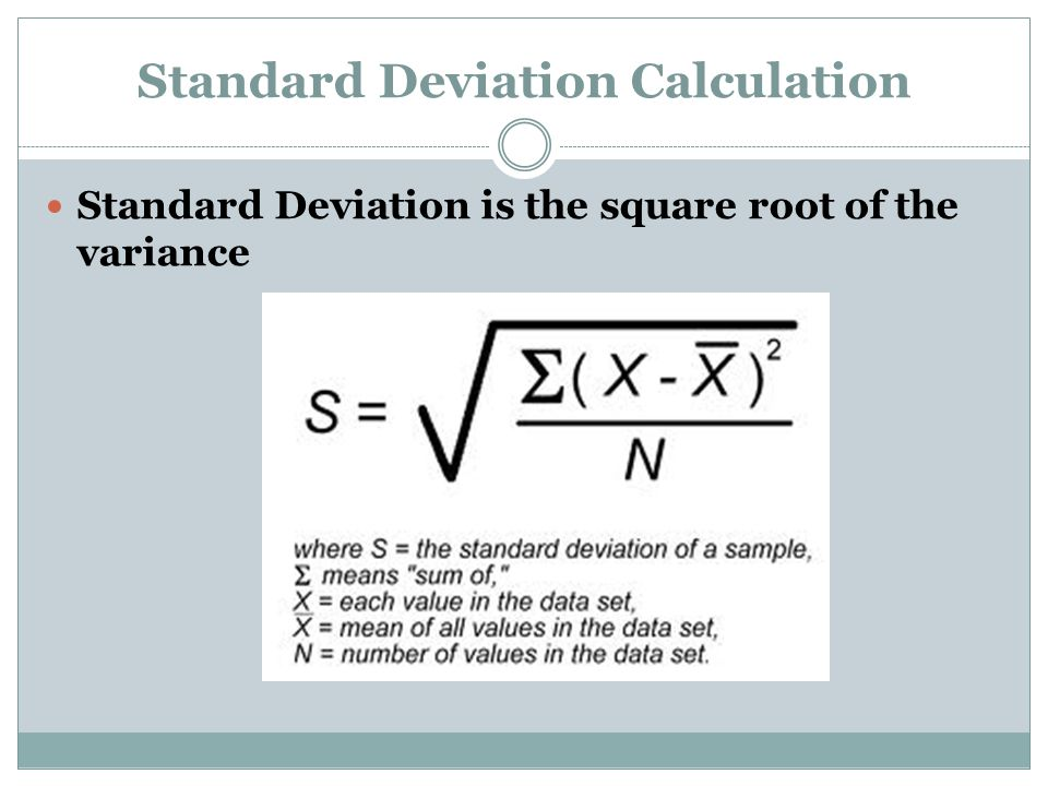 Standard Deviation Calculation Standard Deviation is the square root of the variance