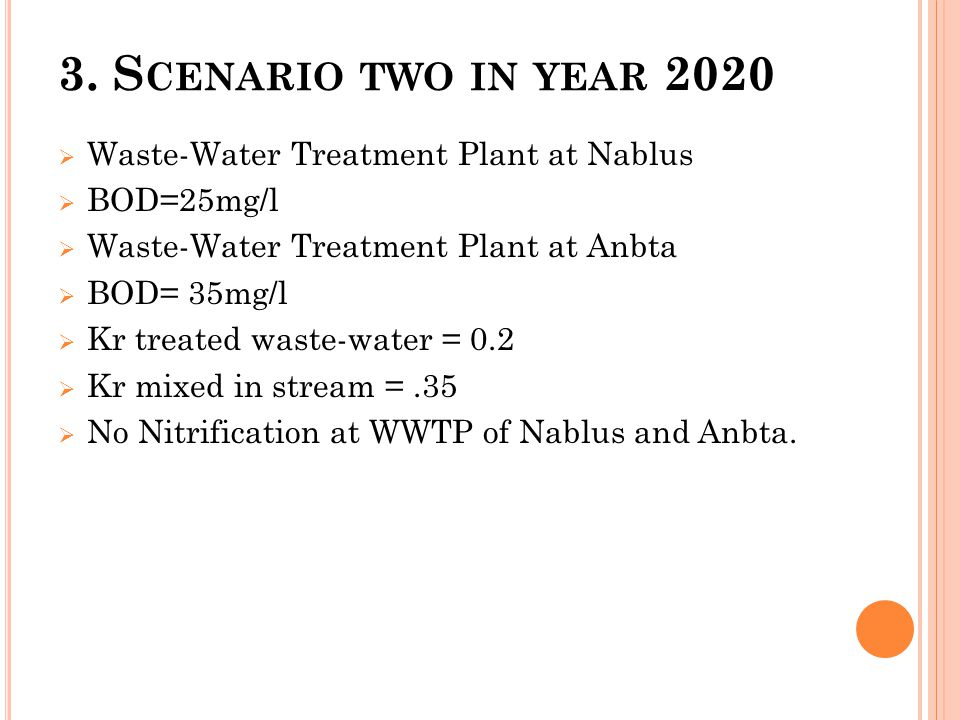 3. S CENARIO TWO IN YEAR 2020  Waste-Water Treatment Plant at Nablus  BOD=25mg/l  Waste-Water Treatment Plant at Anbta  BOD= 35mg/l  Kr treated w