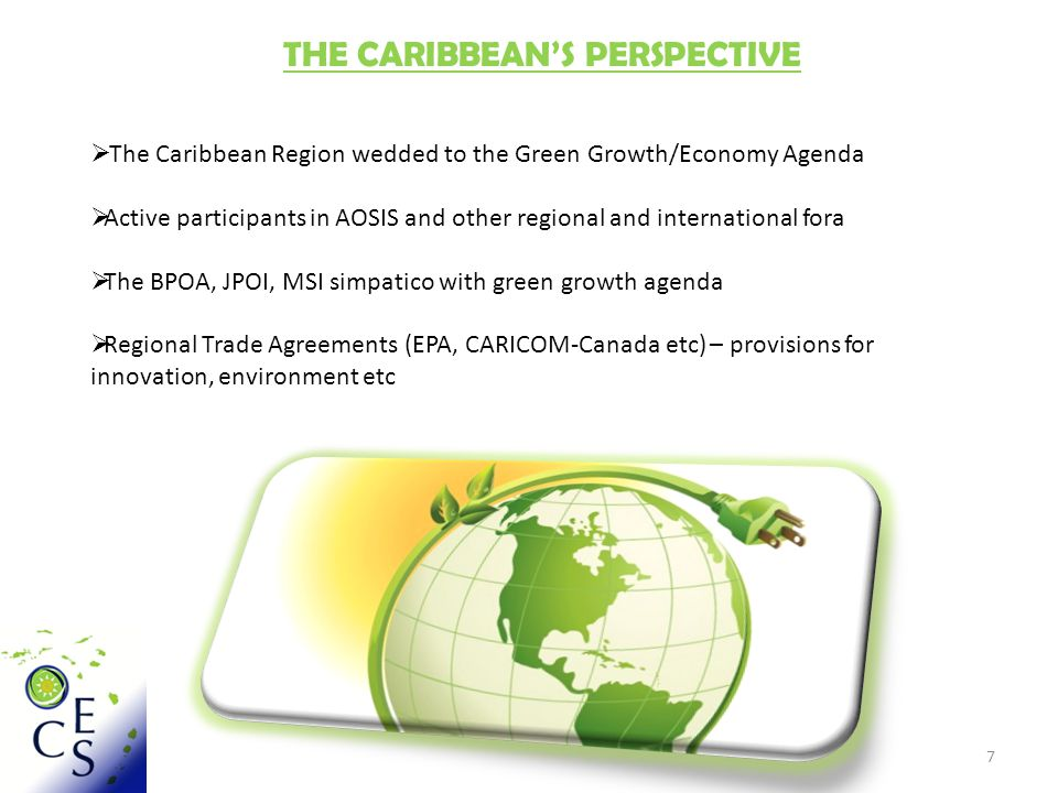 8 THE CARIBBEAN'S PERSPECTIVE Most if not all CARICOM Member States making transition to a green economy Political level:  Barbados Green Economy Strategy  Dominica Organic Isle Initiative  Guyana Low Carbon Development Strategy  OECS St.