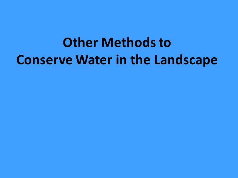 Other Methods to Conserve Water in the Landscape