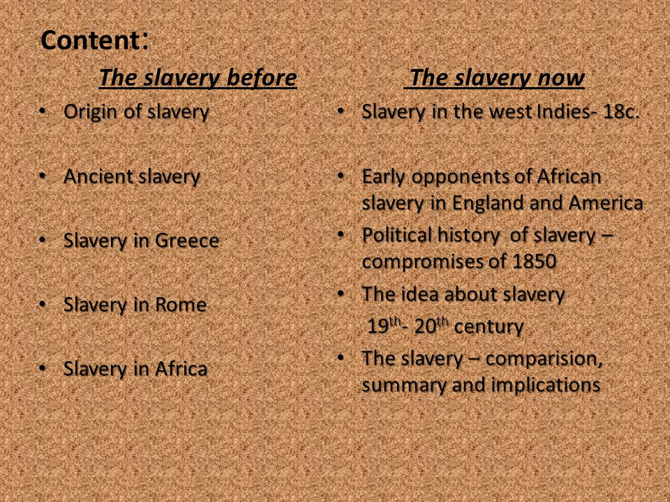 Content : The slavery before Origin of slavery Origin of slavery Ancient slavery Ancient slavery Slavery in Greece Slavery in Greece Slavery in Rome Slavery in Rome Slavery in Africa Slavery in Africa The slavery now Slavery in the west Indies- 18c.