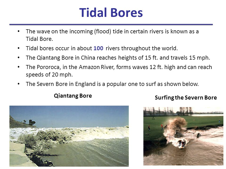 The wave on the incoming (flood) tide in certain rivers is known as a Tidal Bore. Tidal bores occur in about 100 rivers throughout the world. The Qian