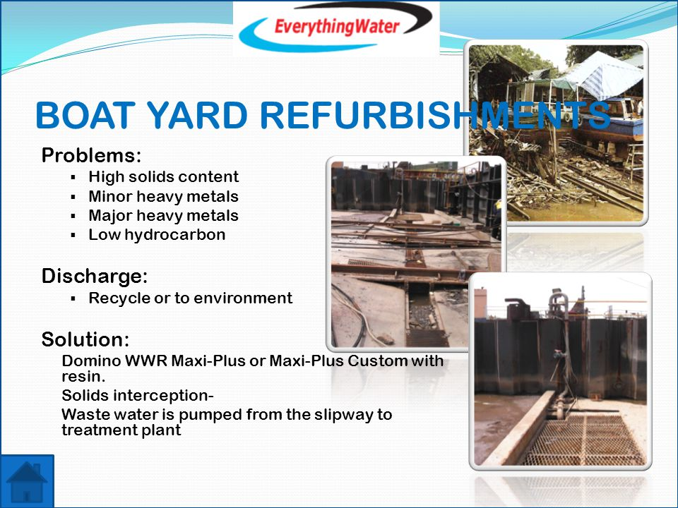BOAT ANTIFAL/ HULL BLASTING WASHING Problems:  Supply contained area for domestic boat wash  No Municipal Mains water available for washing Discharge:  Recycle, top up from rain water harvesting Solution: Domino WWR Micro & SWT systems