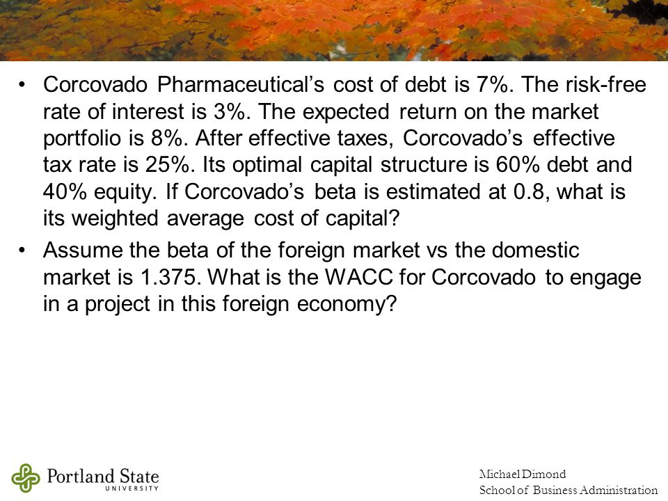 Michael Dimond School of Business Administration Corcovado Pharmaceutical's cost of debt is 7%.