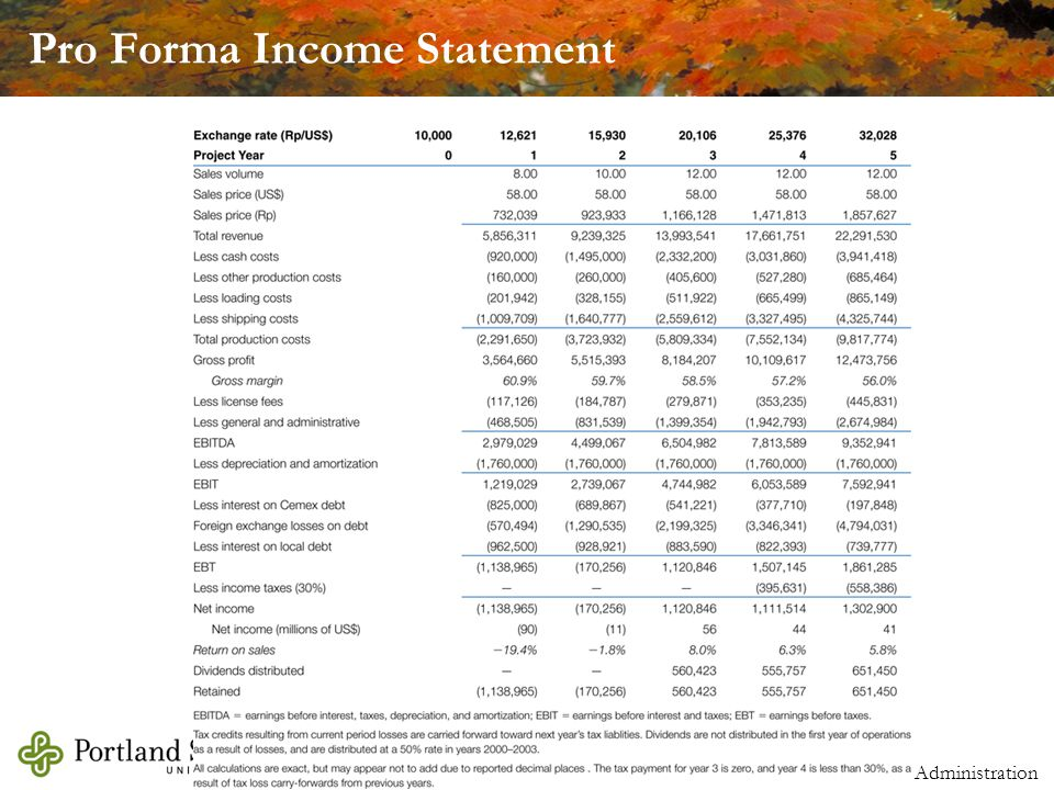 Michael Dimond School of Business Administration Pro Forma Income Statement