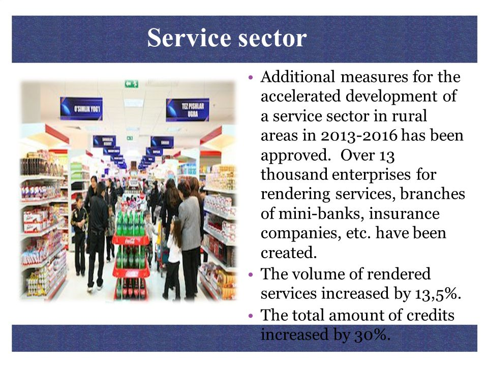 Service sector Additional measures for the accelerated development of a service sector in rural areas in 2013-2016 has been approved. Over 13 thousand