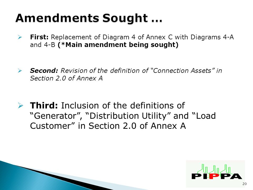  First: Replacement of Diagram 4 of Annex C with Diagrams 4-A and 4-B (*Main amendment being sought)  Second: Revision of the definition of Connection Assets in Section 2.0 of Annex A  Third: Inclusion of the definitions of Generator , Distribution Utility and Load Customer in Section 2.0 of Annex A 20