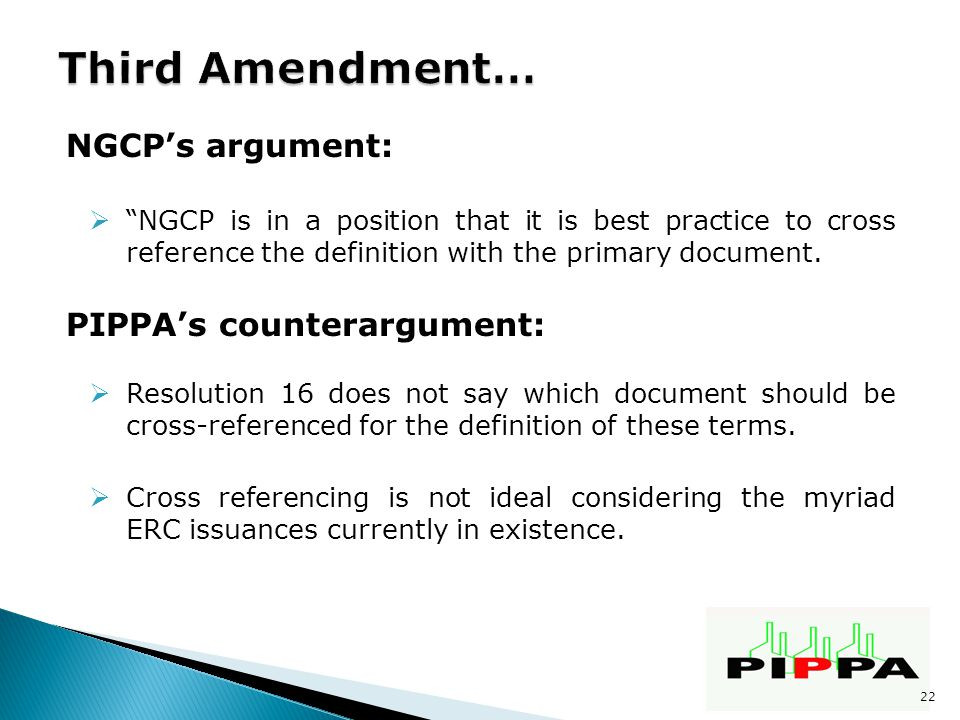 NGCP's argument:  NGCP is in a position that it is best practice to cross reference the definition with the primary document.
