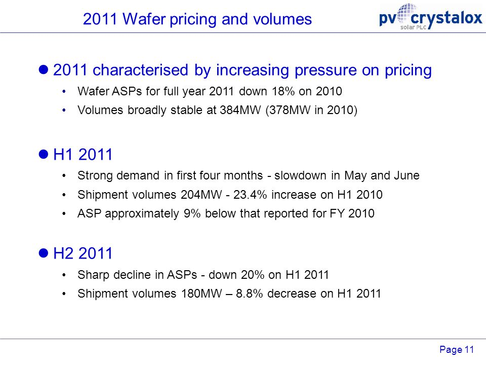 Page 11 2011 Wafer pricing and volumes 2011 characterised by increasing pressure on pricing Wafer ASPs for full year 2011 down 18% on 2010 Volumes bro