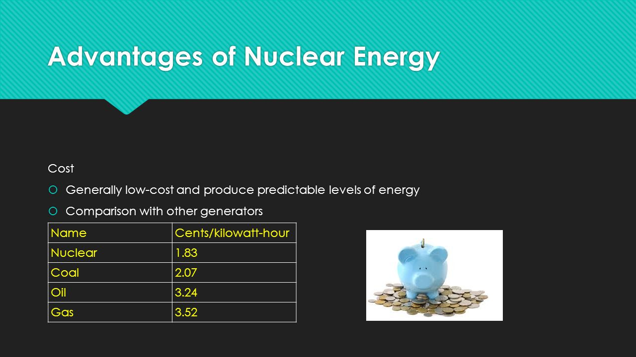 Advantages of Nuclear Energy Cost  Generally low-cost and produce predictable levels of energy  Comparison with other generators Cost  Generally low-cost and produce predictable levels of energy  Comparison with other generators NameCents/kilowatt-hour Nuclear1.83 Coal2.07 Oil3.24 Gas3.52