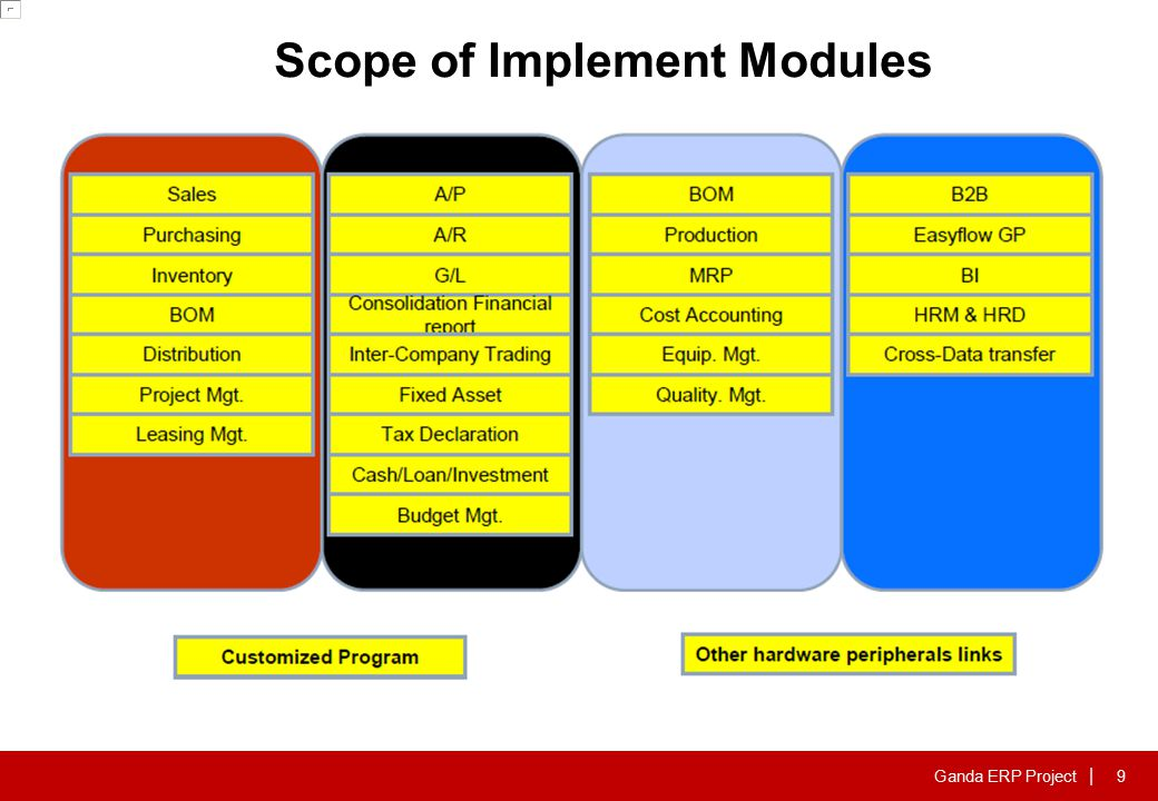 Ganda ERP Project | Scope of Implement Modules 9