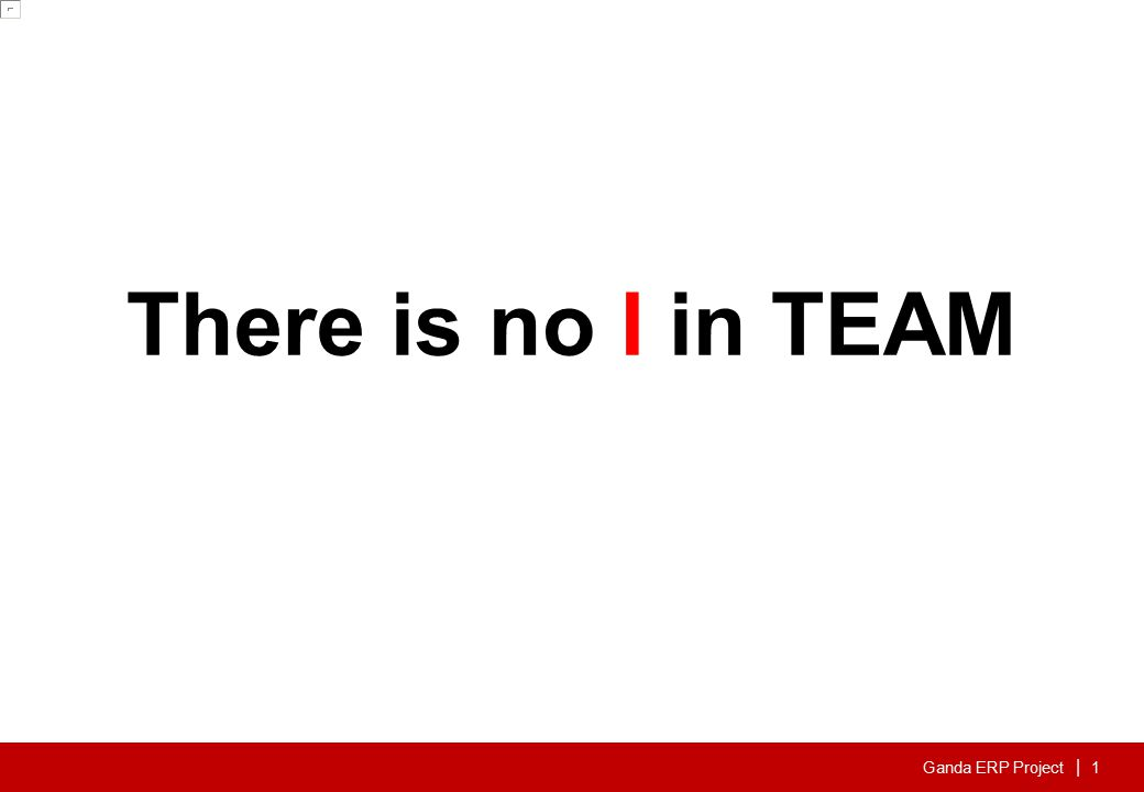 Ganda ERP Project | 1 There is no I in TEAM