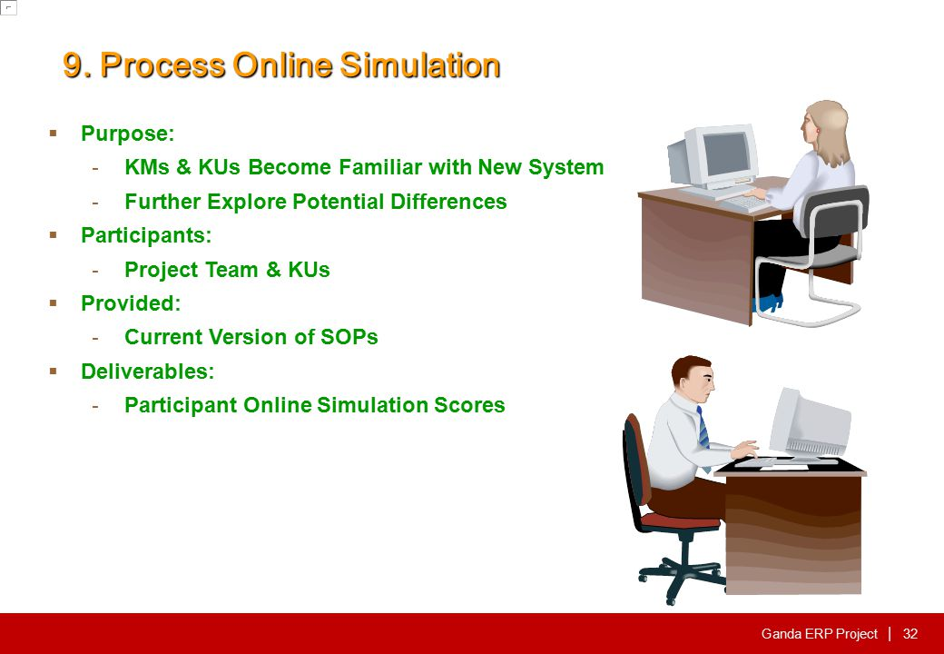 Ganda ERP Project | 9. Process Online Simulation  Purpose: - KMs & KUs Become Familiar with New System - Further Explore Potential Differences  Part