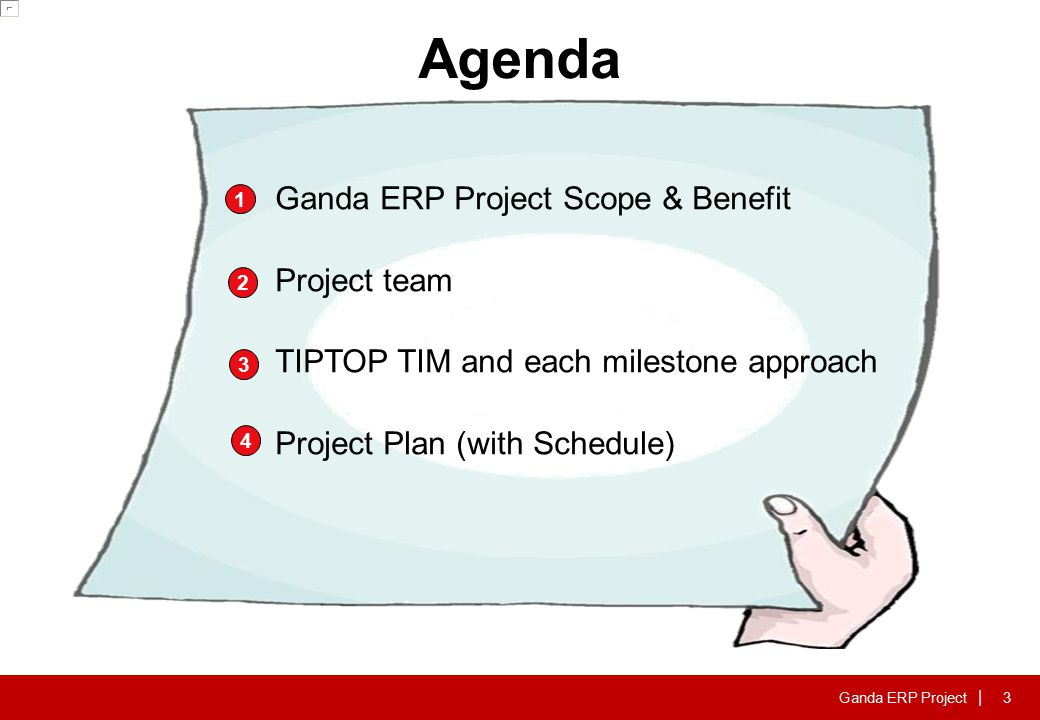 Ganda ERP Project | Agenda 1 2 3 Ganda ERP Project Scope & Benefit Project team TIPTOP TIM and each milestone approach Project Plan (with Schedule) 4