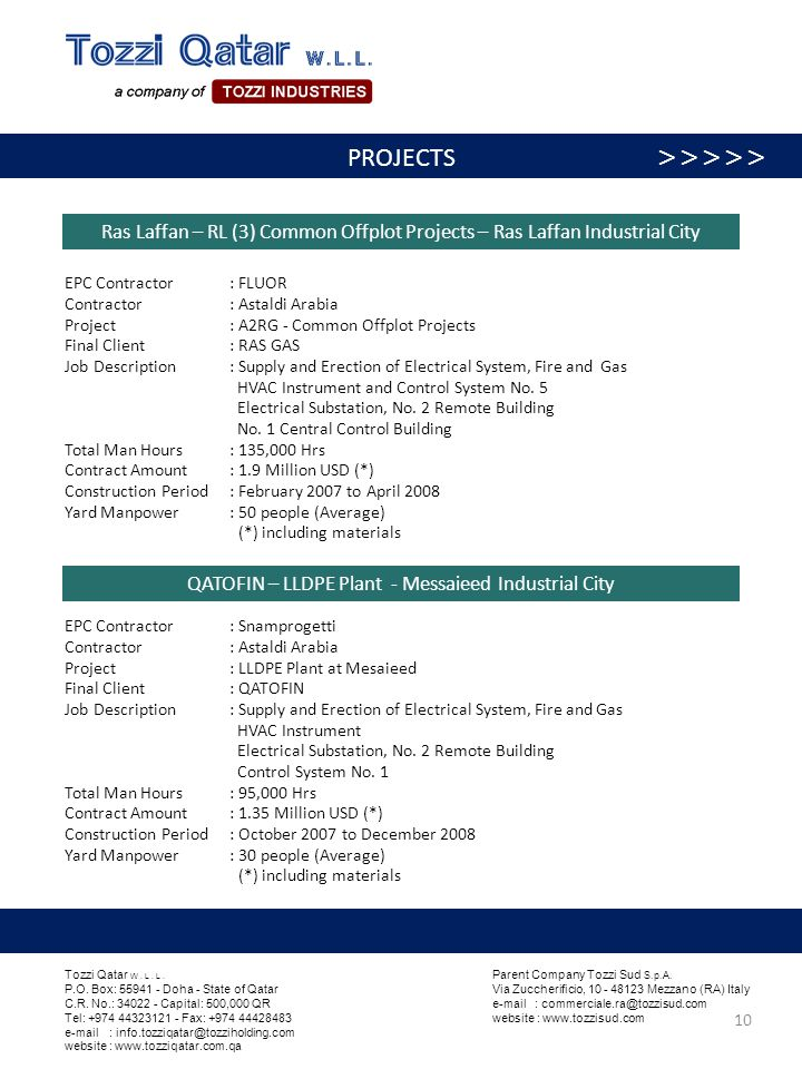 Ras Laffan – RL (3) Common Offplot Projects – Ras Laffan Industrial City QATOFIN – LLDPE Plant - Messaieed Industrial City EPC Contractor : FLUOR Cont