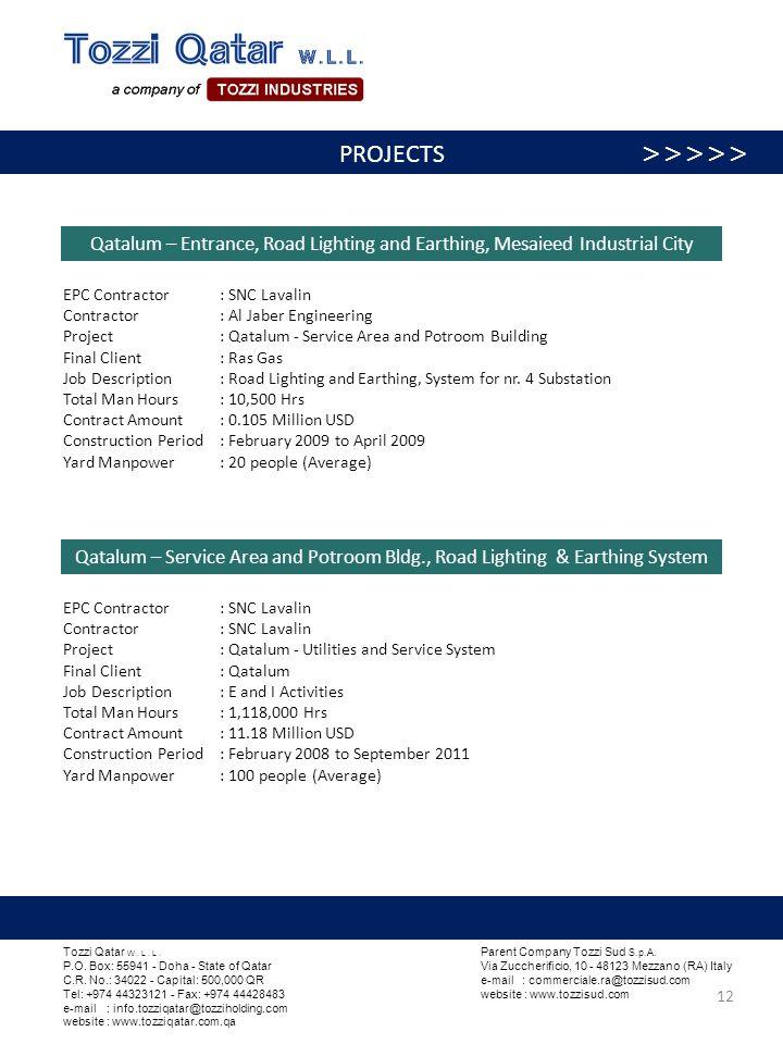 Qatalum – Service Area and Potroom Bldg., Road Lighting & Earthing System EPC Contractor : SNC Lavalin Contractor : SNC Lavalin Project : Qatalum - Ut