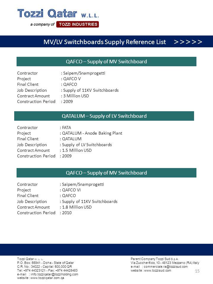 MV/LV Switchboards Supply Refere MV/LV Switchboards Supply Reference List >>>>> QAFCO – Supply of MV Switchboard Contractor : Saipem/Snamprogetti Proj