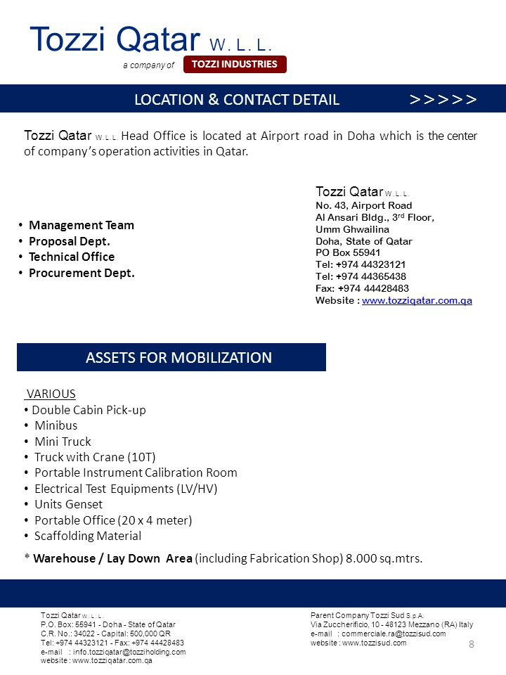 Tozzi Qatar W. L. L. Head Office is located at Airport road in Doha which is the center of company's operation activities in Qatar. Tozzi Qatar W. L.