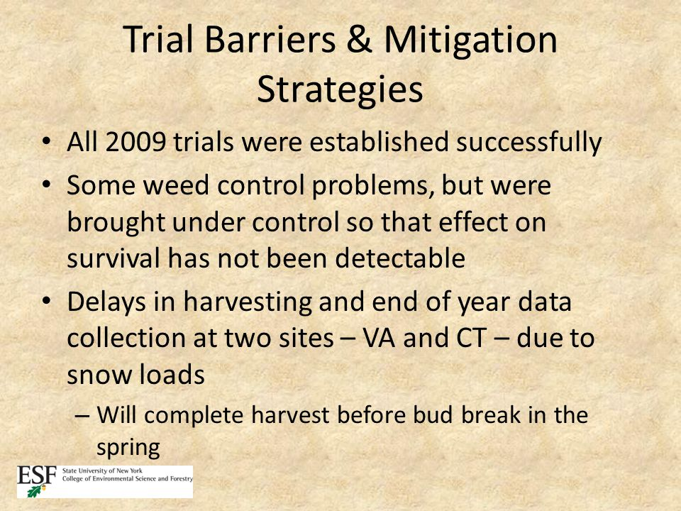 Trial Barriers & Mitigation Strategies All 2009 trials were established successfully Some weed control problems, but were brought under control so that effect on survival has not been detectable Delays in harvesting and end of year data collection at two sites – VA and CT – due to snow loads – Will complete harvest before bud break in the spring